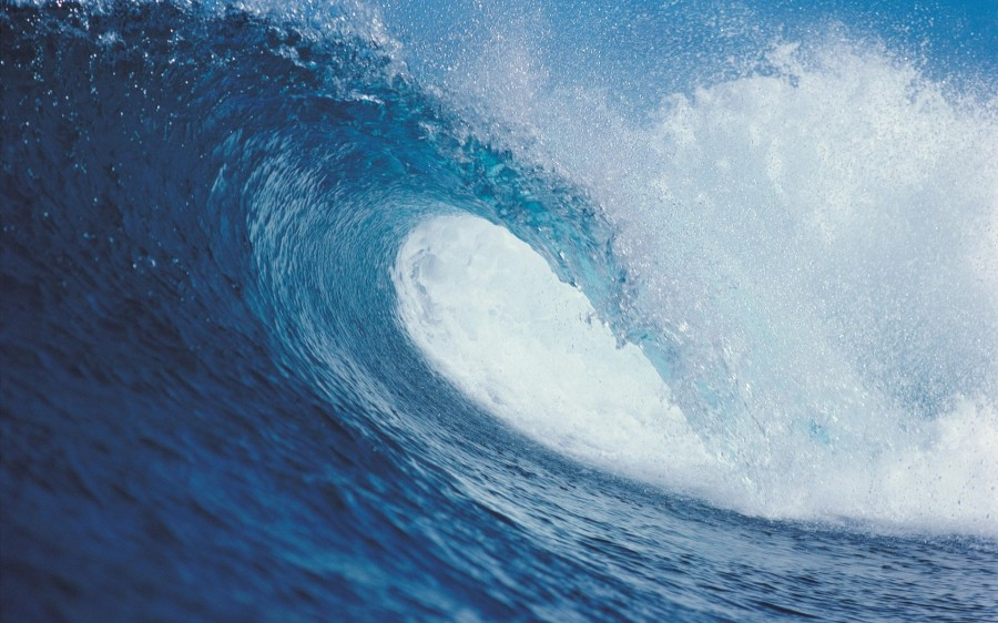 Cool Blue Ocean Sea Surf Wave Wallpaper HD 900x562