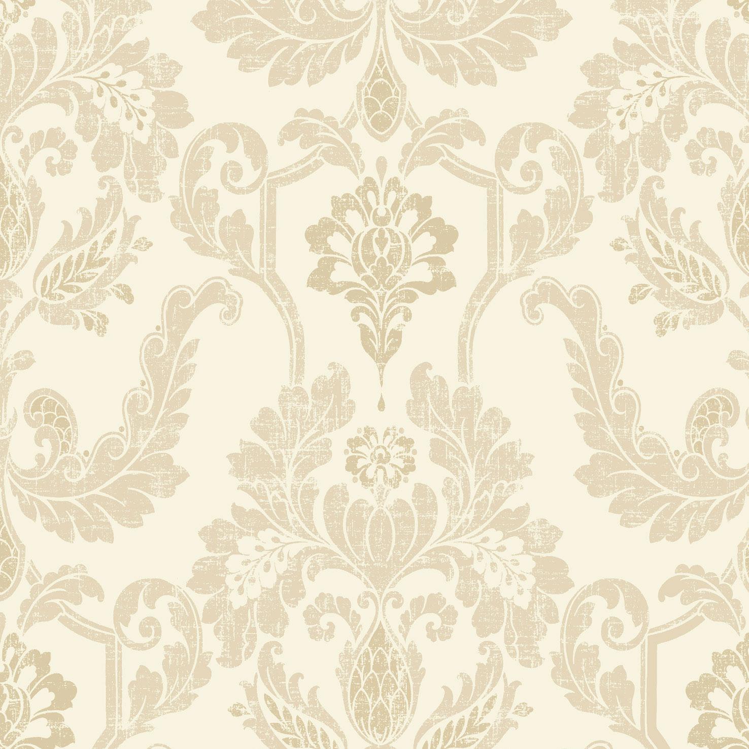 Elegant Cream Hallway With Damask Wallpaper: Gold And Cream Wallpaper