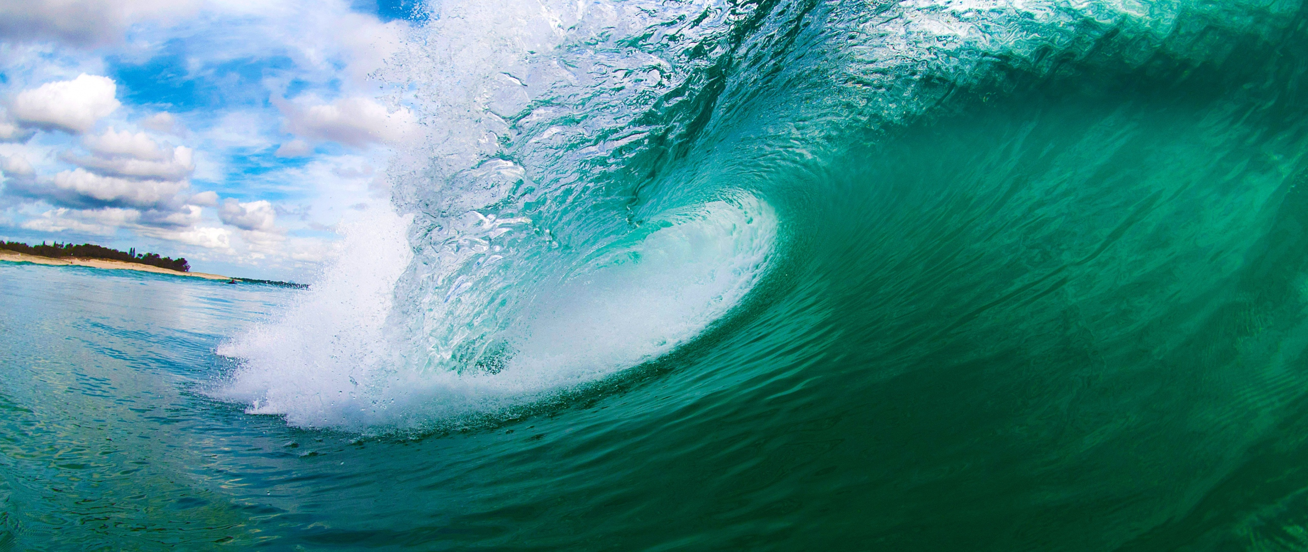 Download Wallpaper 2560x1080 sea wave island 2560x1080 219 TV HD 2560x1080