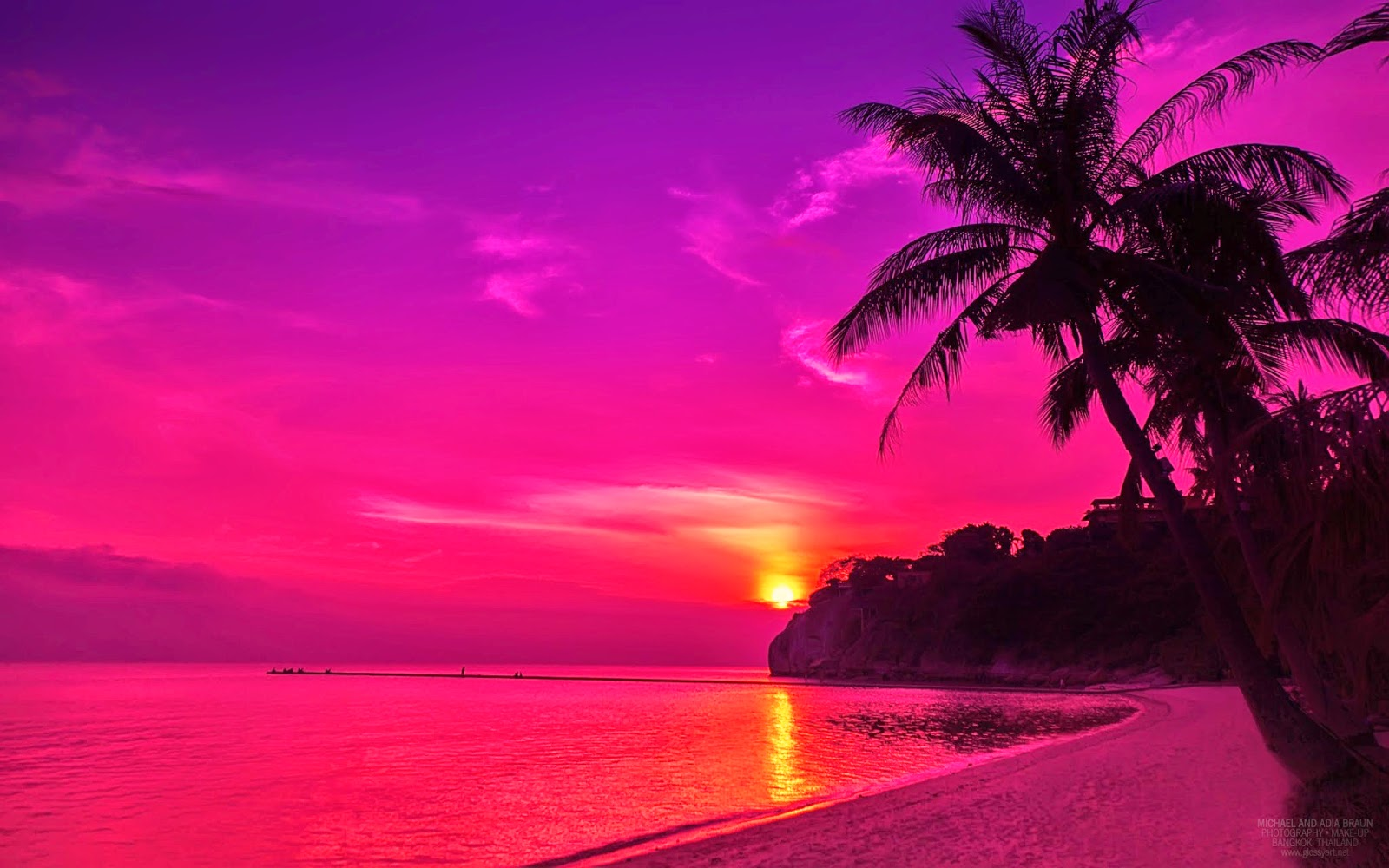 Beautiful Beach Wallpapers: Pink Beach Sunset Wallpaper