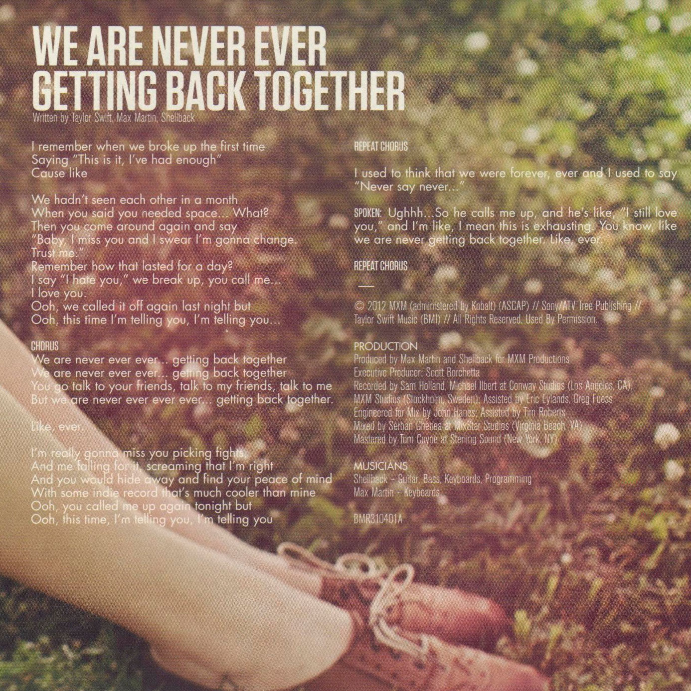 We Are Never Ever Getting Back Together Cd Single Interior   We 1386x1386