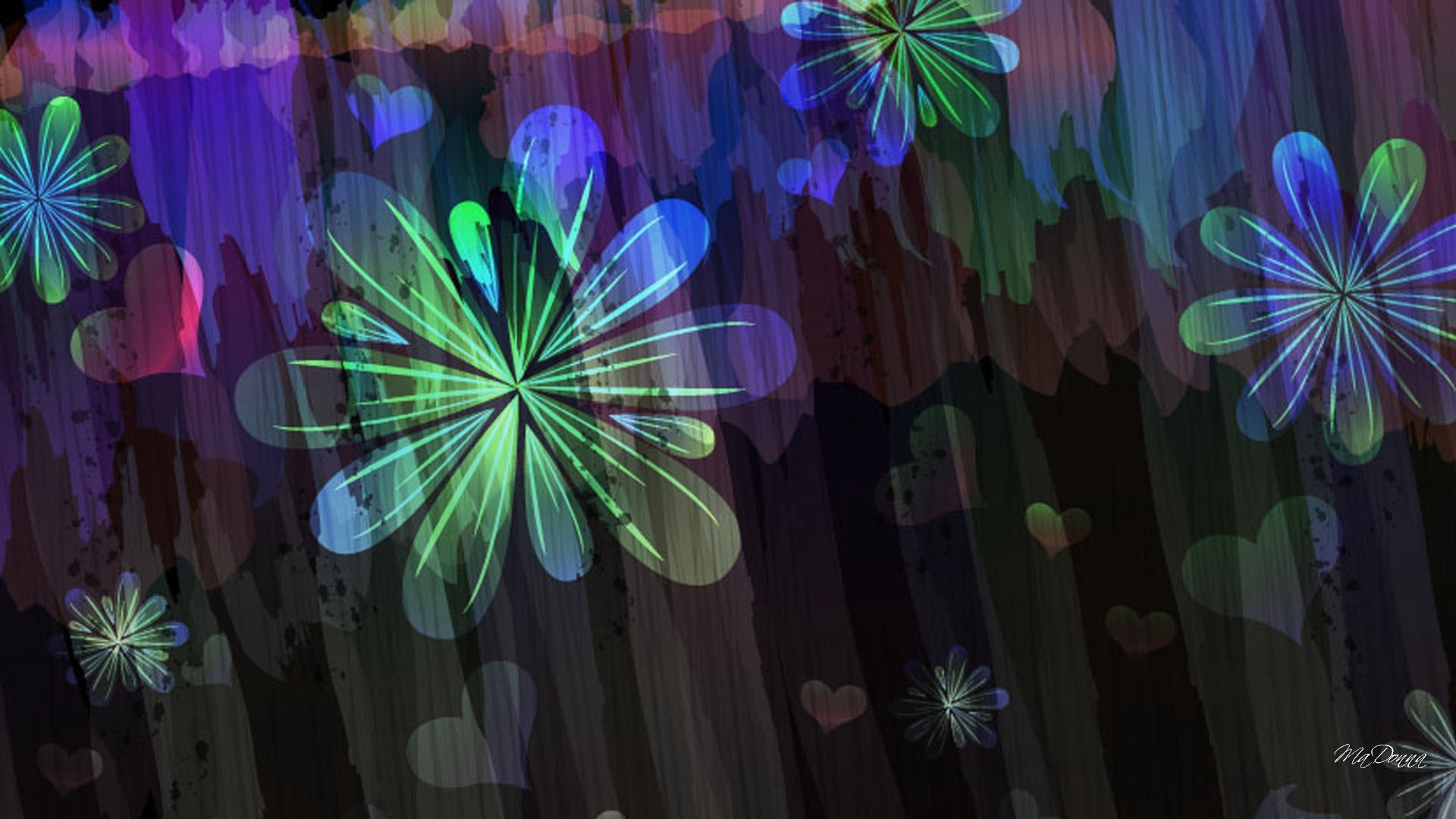 Free Download Hearts Abstract Flower Flowers Summer Dark Floral