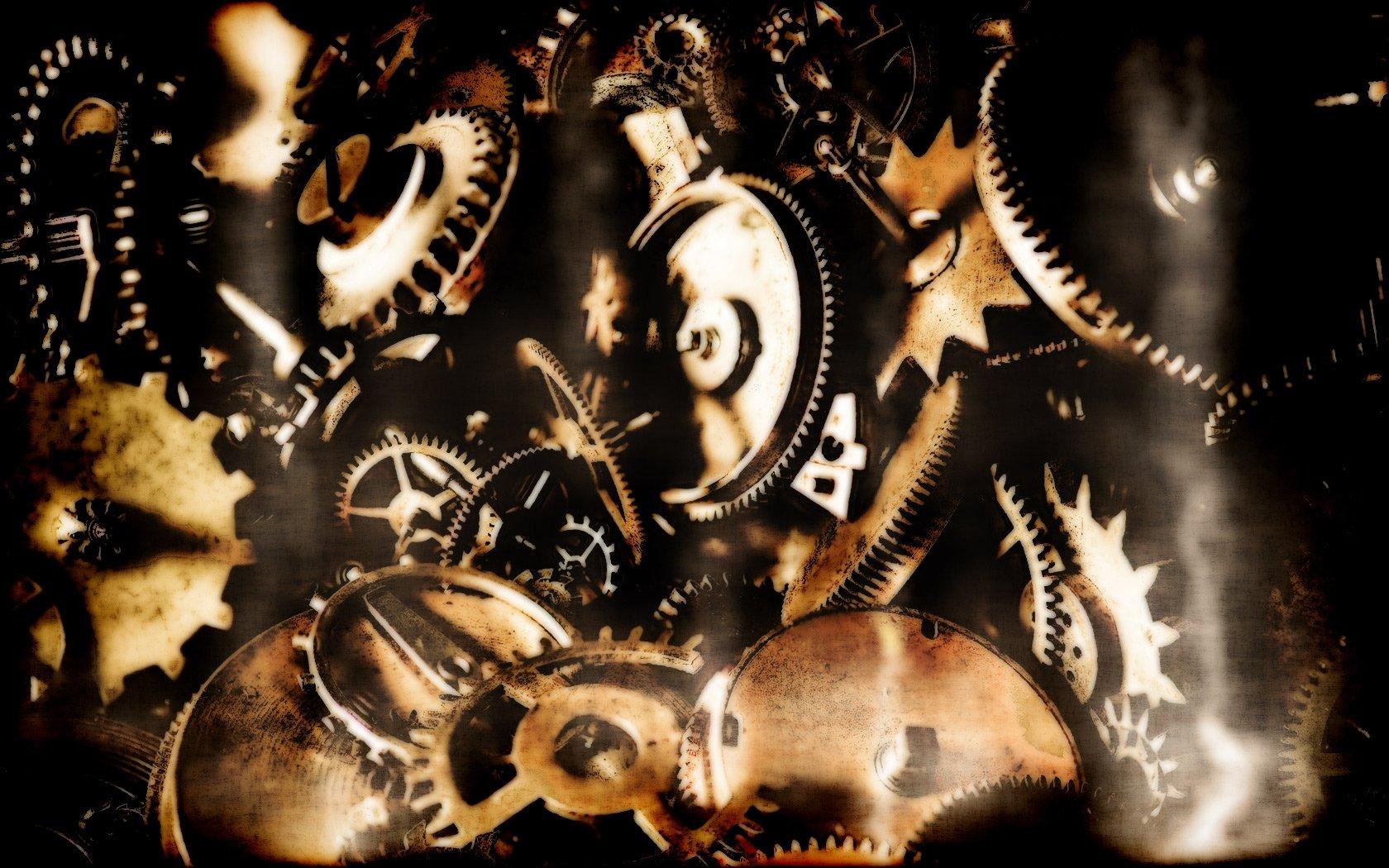 Steampunk mechanical gears cogs wallpaper 1680x1050 62240 1680x1050