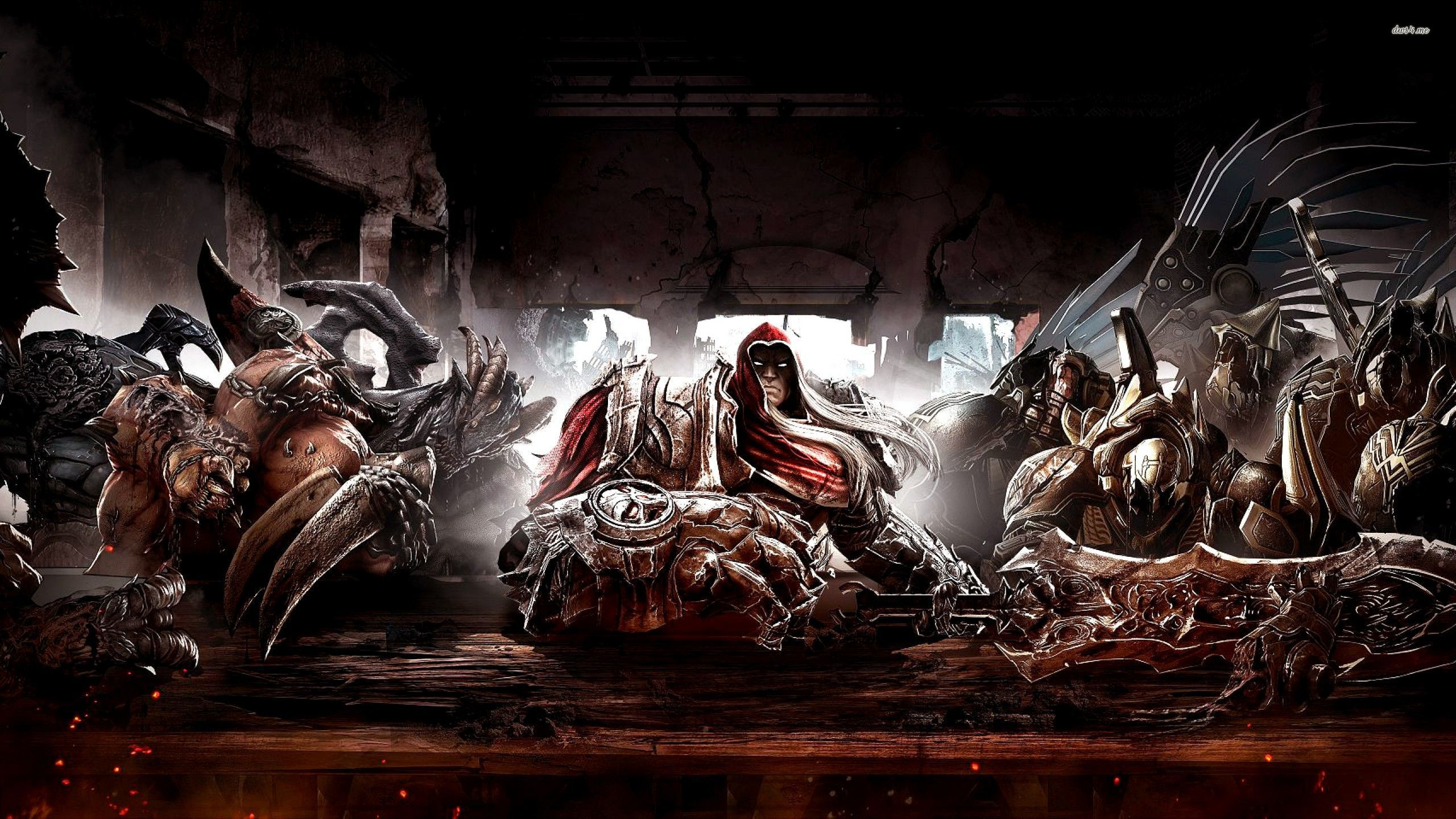 Four Horsemen at the table in Darksiders wallpaper   Game 2560x1440