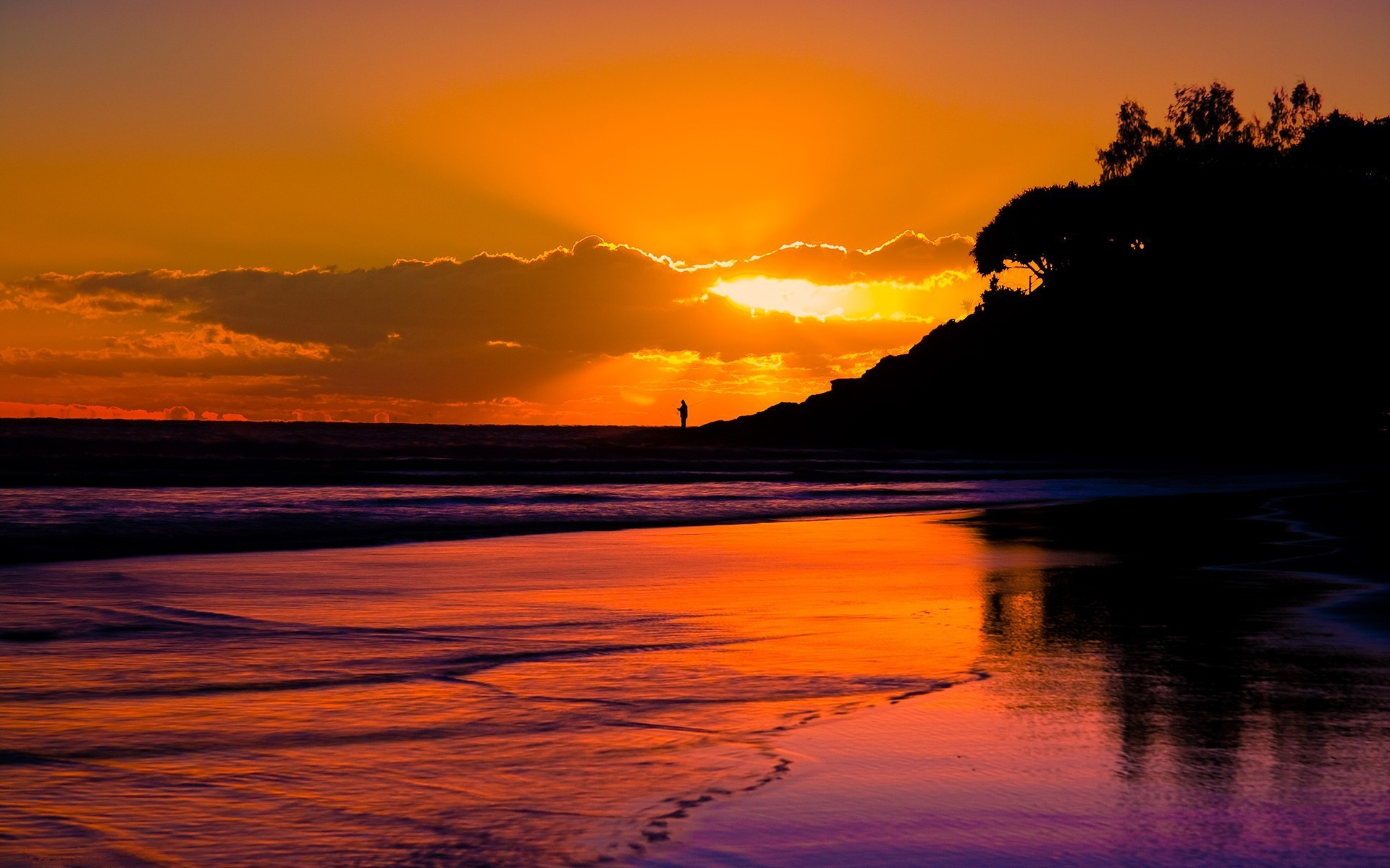 Sunset Beach Wallpaper 1920x1200 Sunset, Beach, Sea, Silhouette