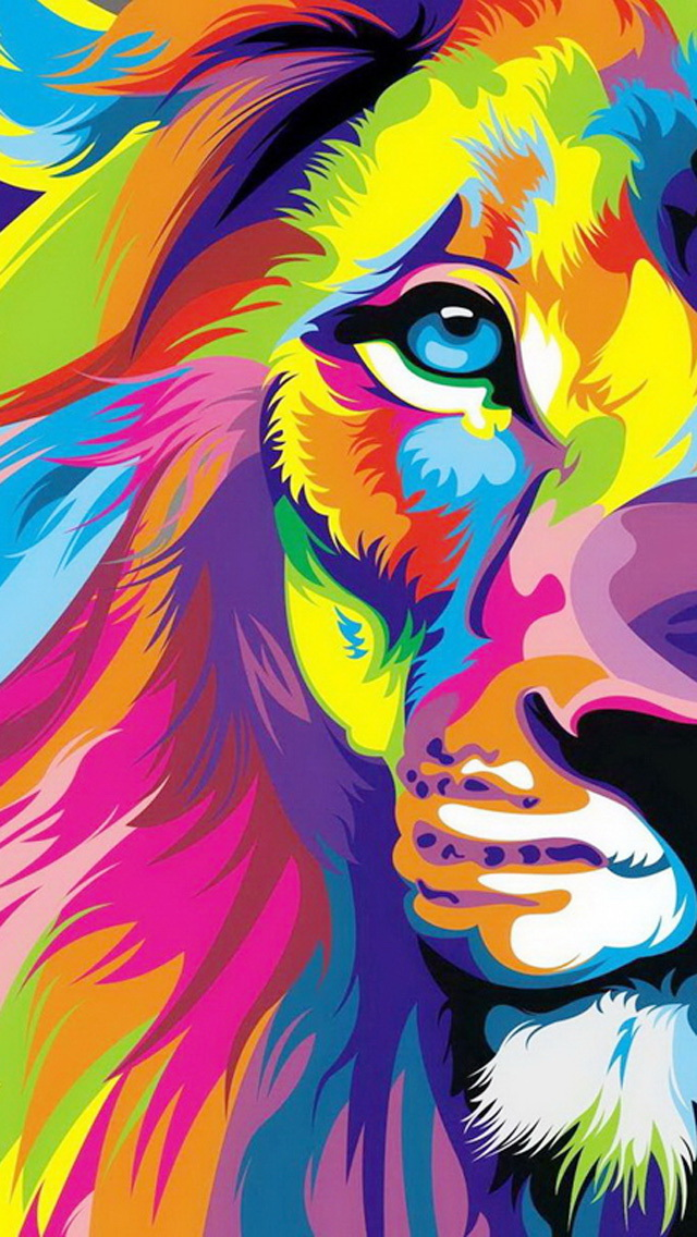 Colorful Lion Head Painting Wallpaper   iPhone Wallpapers 640x1136