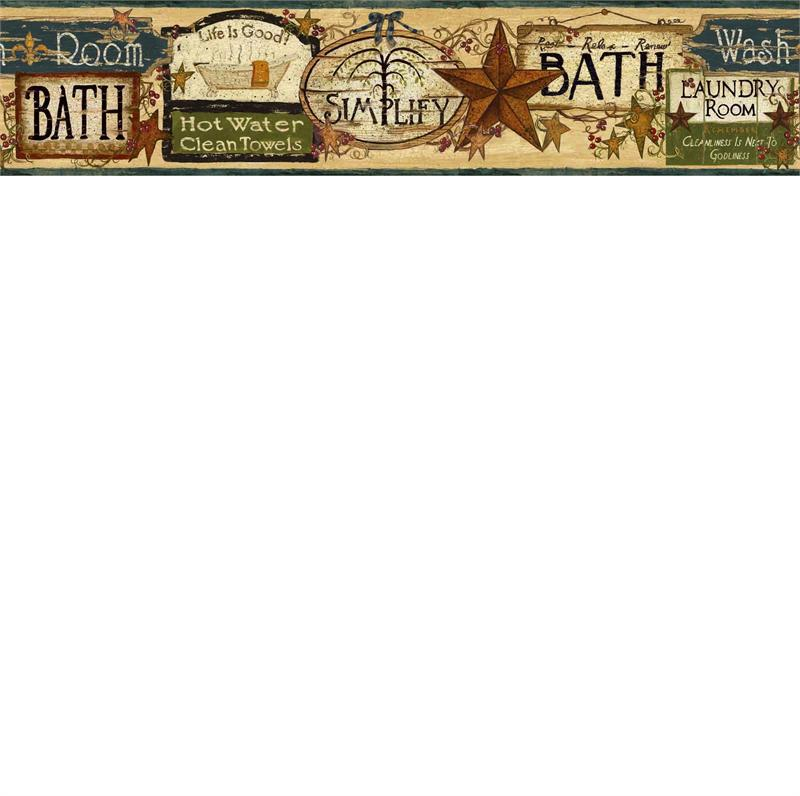 Blue Life is Good Wallpaper Border   Rustic Country Primitive 800x796