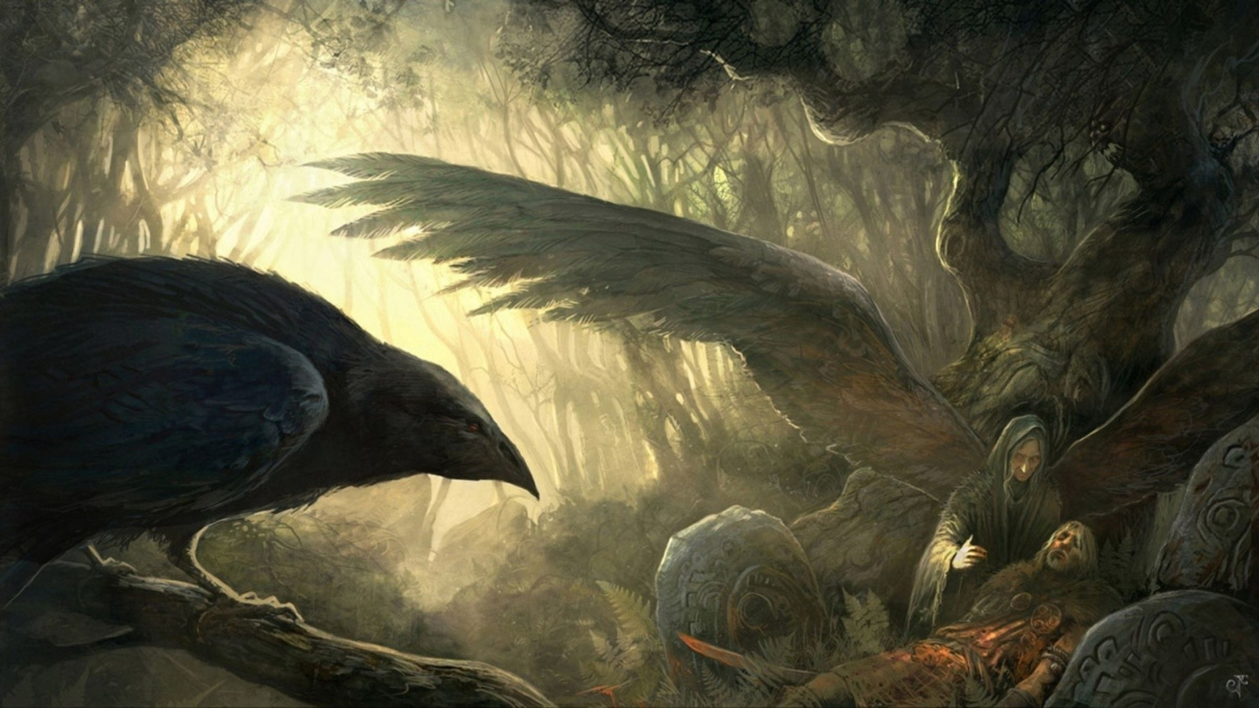 Wallpapers Download 2560x1440 wings death forest fantasy art goddess 2560x1440