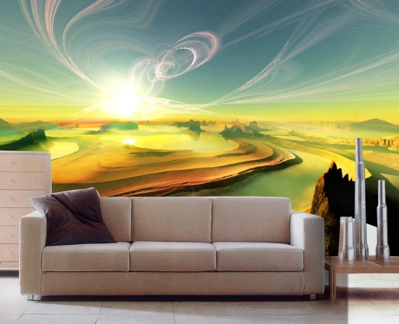 under setting sun Crazy design 3d wallpaper usage living room wall 800x650