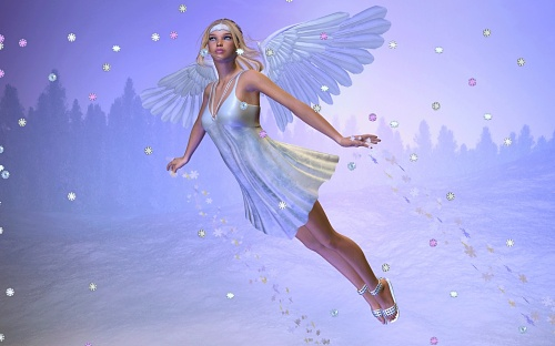 FREE Winter Angel Widescreen and Standard SCREENSAVER 500x312