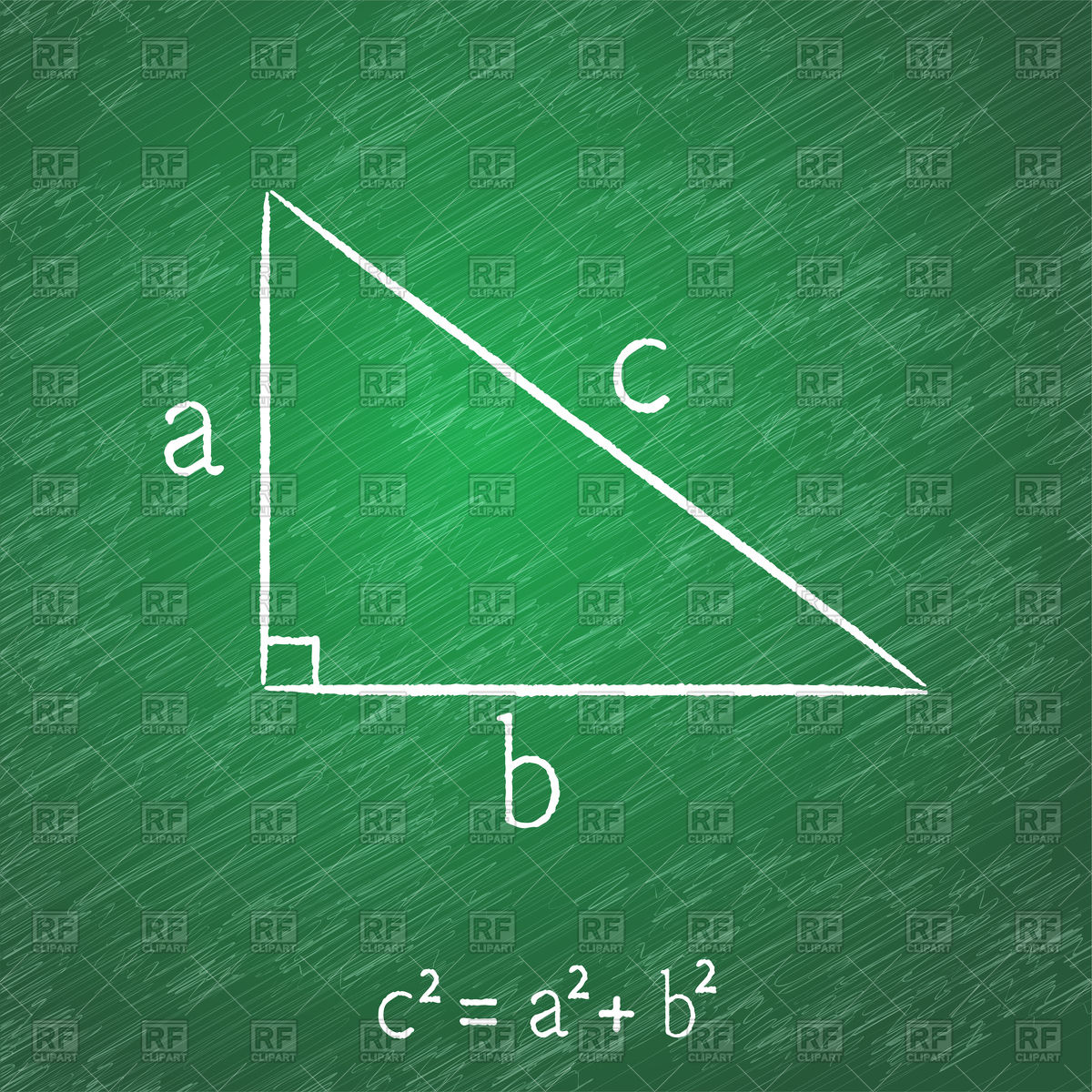 Pythagorean theorem on blackboard Vector Image Vector 1200x1200