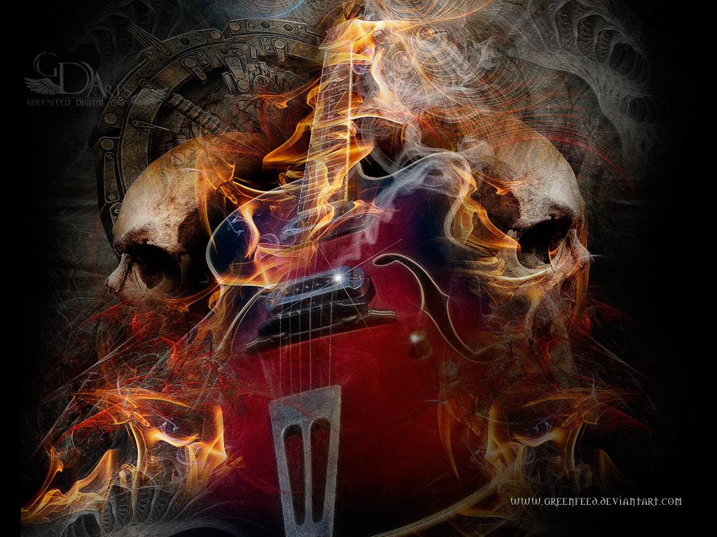 Flaming Guitars Digital Art Hd Wallpaper: Wallpapers Skulls With Flames