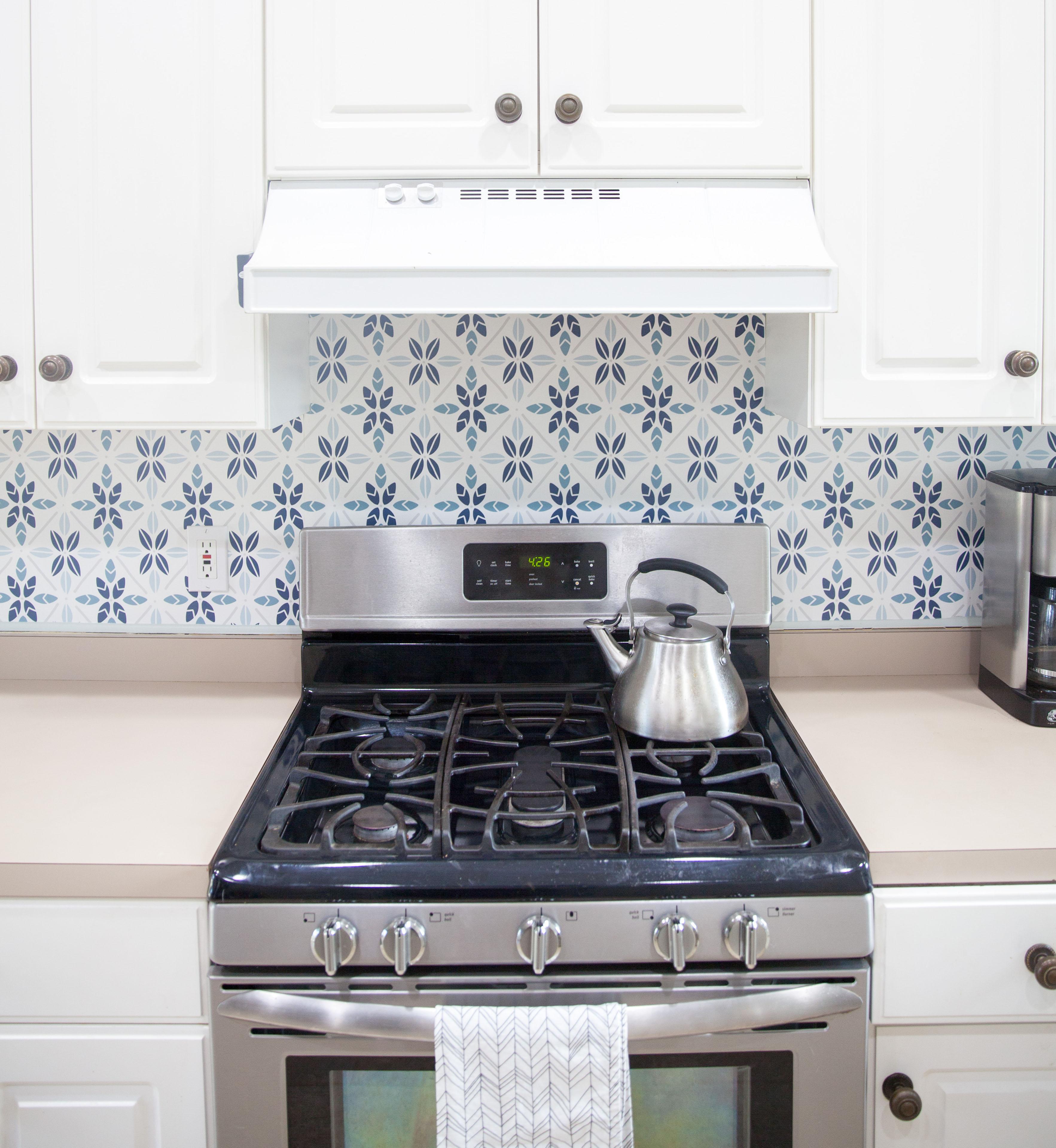 Easy Faux Tile Backsplash with Eco Friendly Wallpaper 3531x3838