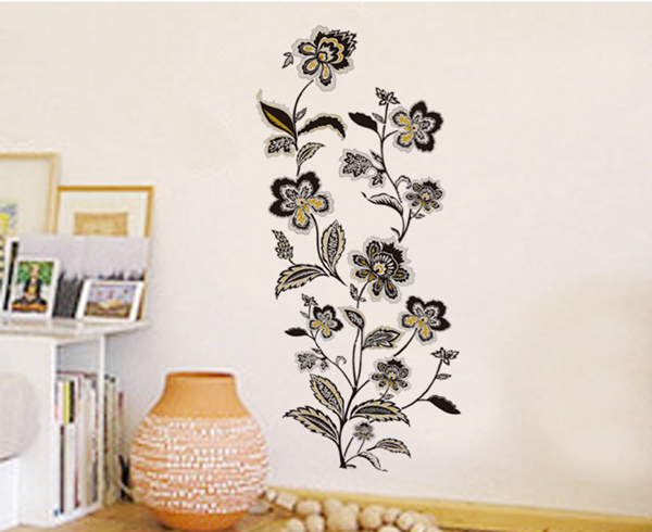 Black and Gold Flowers Removable Wall Decals Stickers Furniture Living 600x490