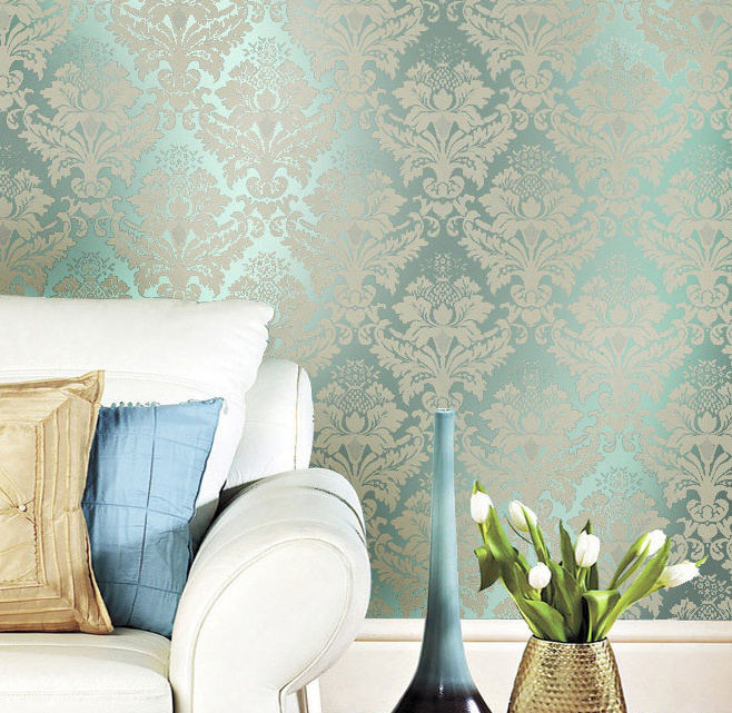 Non woven classic metallic flock damask wallpaper glitter green 658x641