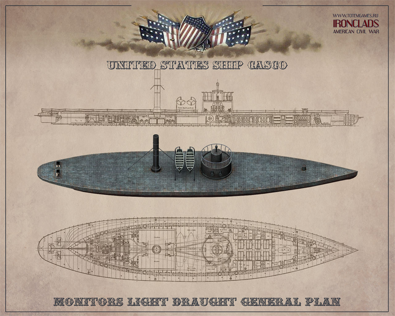 Ironclads American Civil War   wallpaper for the game wallpapers 1280x1024
