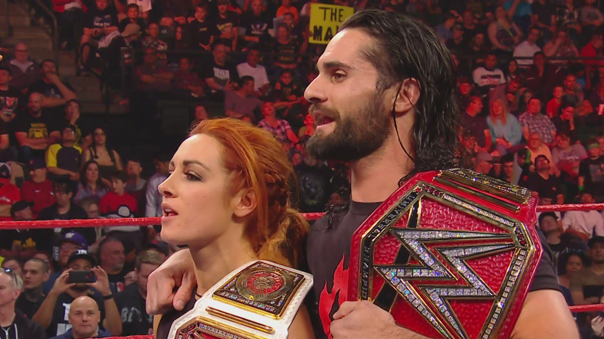 Baron Corbin and Lacey Evans challenged Seth Rollins and Becky 1920x1080