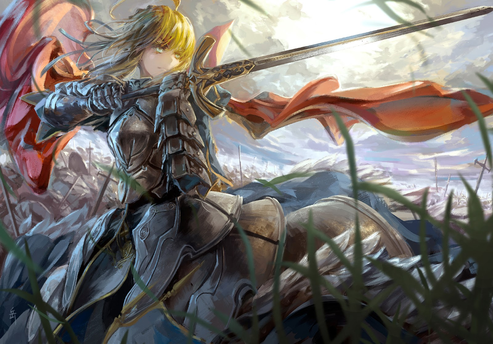 Saber Fate Stay Night Anime Girl Armor Sword Knight Red Cape HD 1600x1119