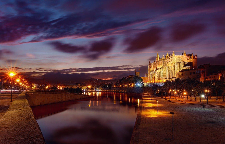Wallpaper night lights Spain Mallorca Palma de Mallorca images 1332x850
