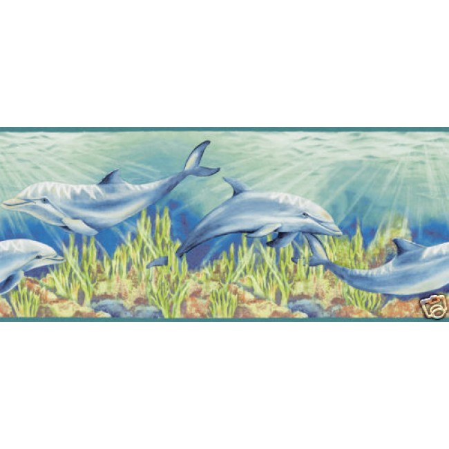 DOLPHIN UNDER THE AQUA SEA WALLPAPER BORDER   All 4 Walls Wallpaper 650x650