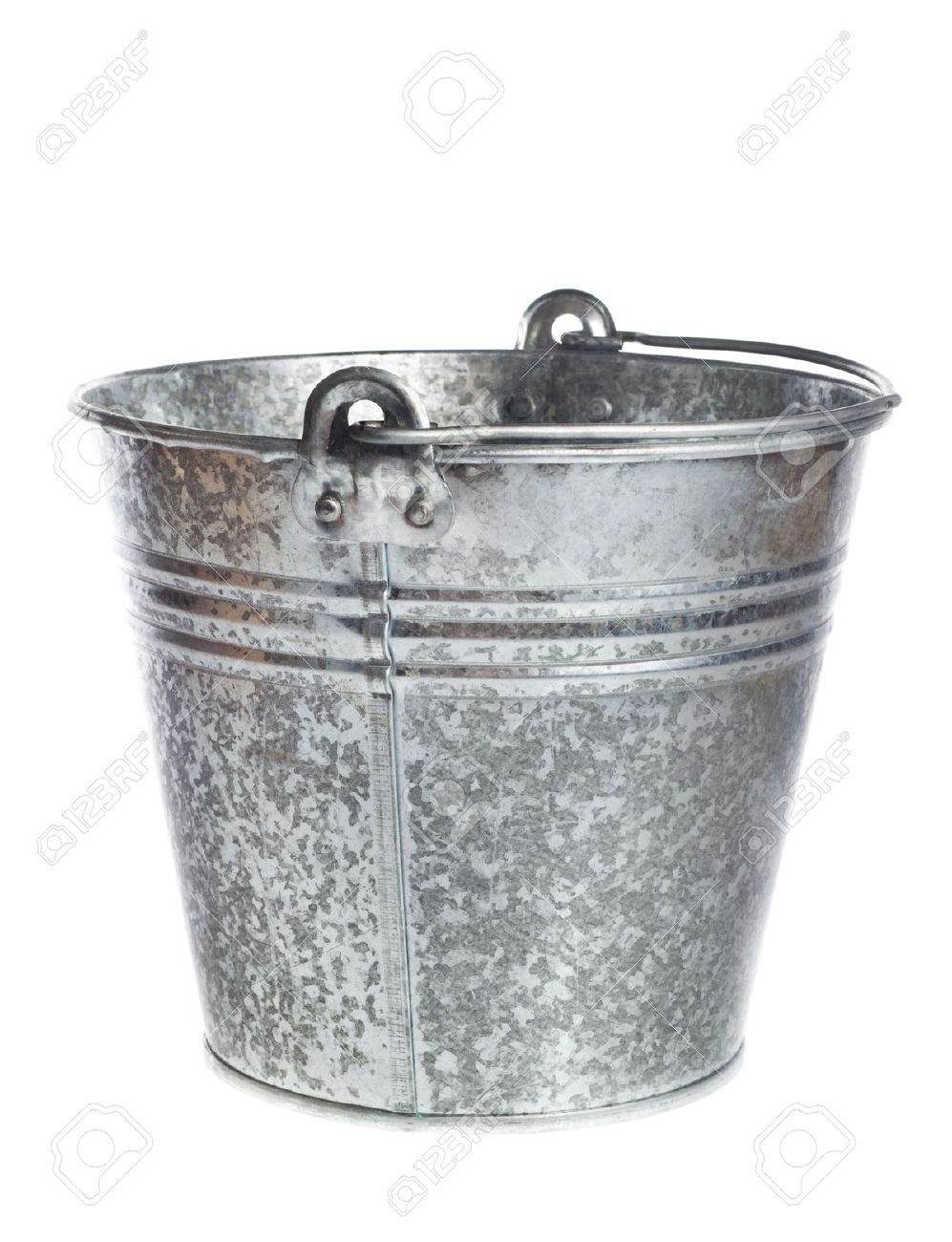 Galvanized Metal Bucket On A White Background Stock Photo Picture 997x1300