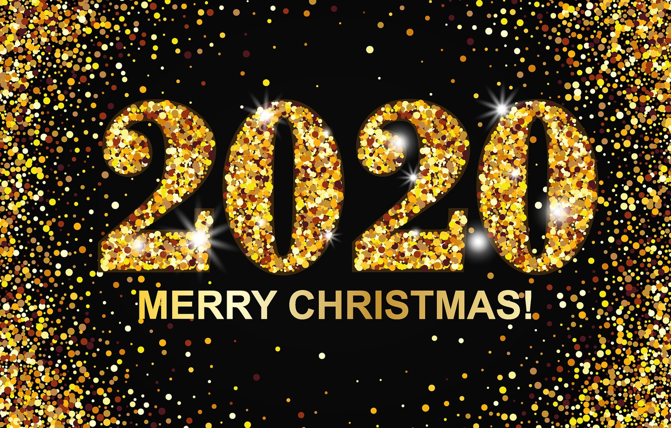 Wallpaper New year gold Christmas New Year Merry 2020 images 1332x850