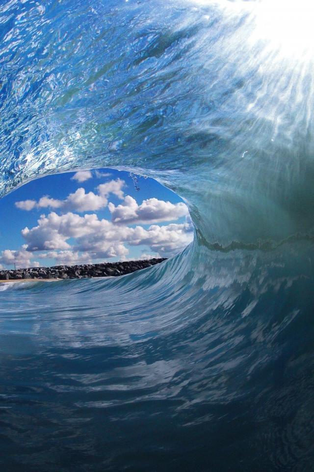 Blue ocean beach waves tropical clark little wallpaper 32303 640x960
