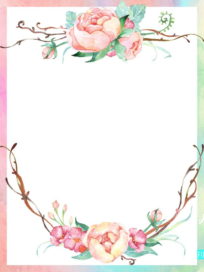 Colored Lace Border Background Flower border Watercolor pattern 650x866