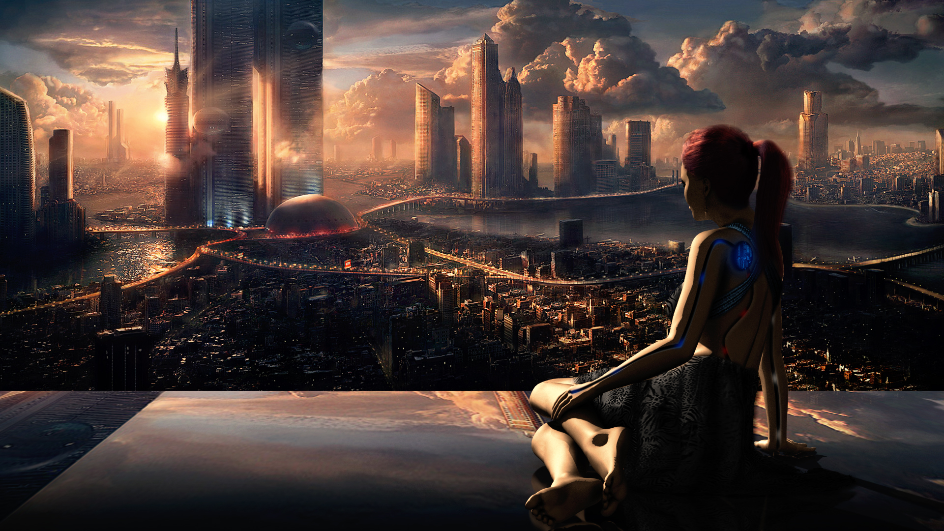 Futuristic City Wallpaper HD Desktop Image 1920x1080