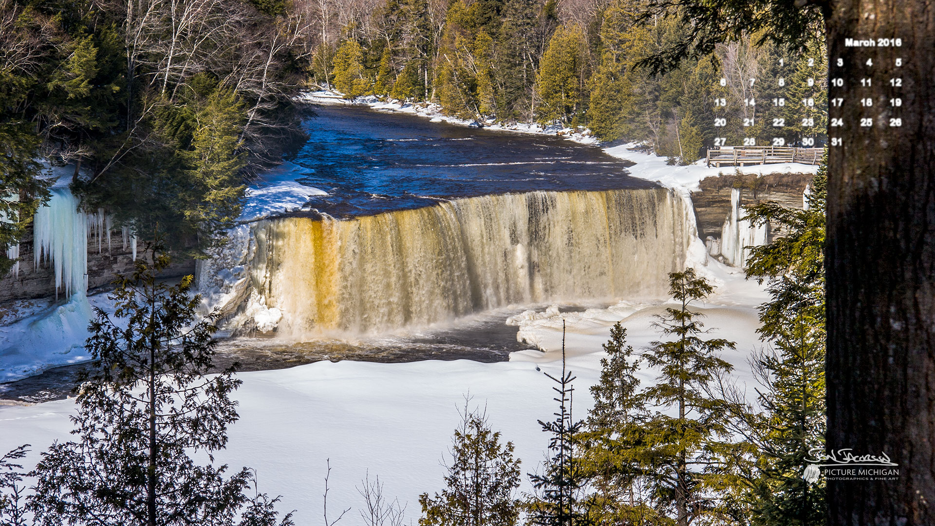 March 2016 Calendar Desktop Wallpaper Tahquamenon Falls 1920x1080
