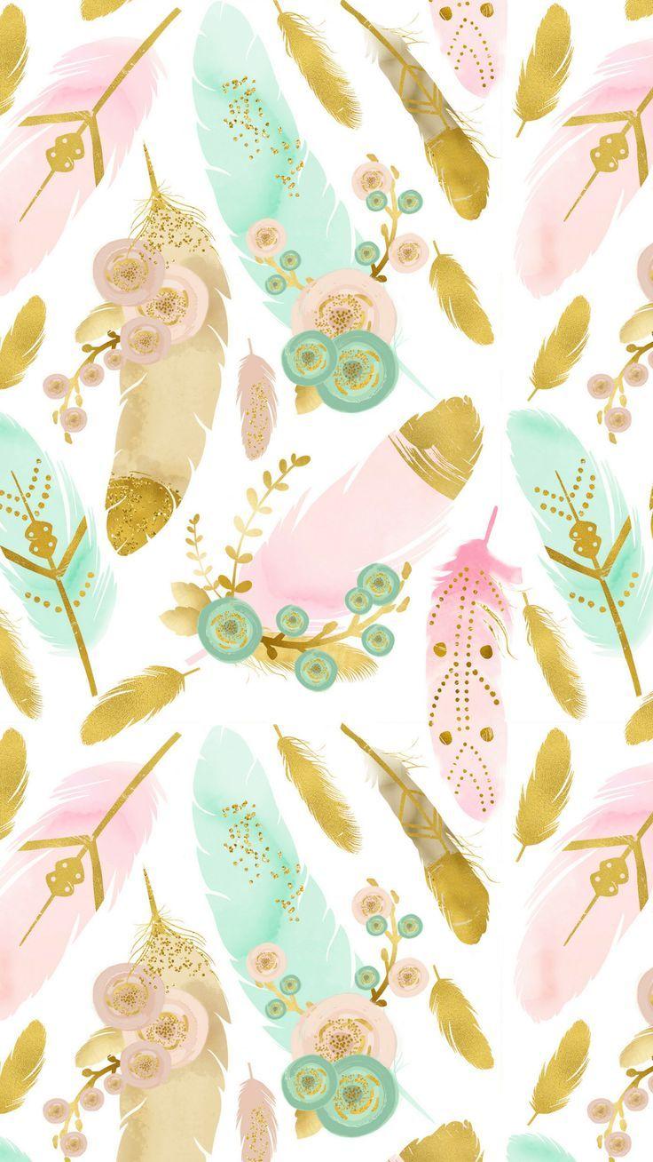 Watercolor Feathers Boho Smart Phone Wallpaper Fondos in 2019 736x1308