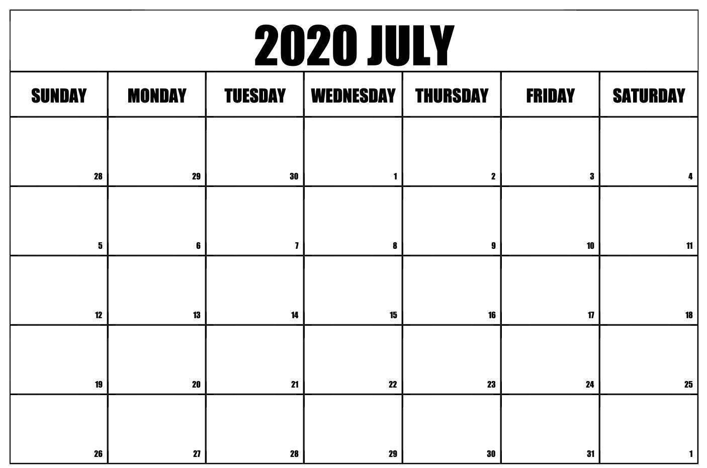 Printable July 2020 Calendar Printable calendar template 1406x931