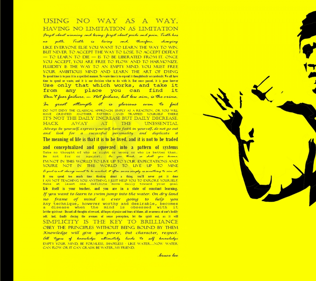 bruce lee quotes typography yellow background 2400x1600 wallpaper High 1080x960