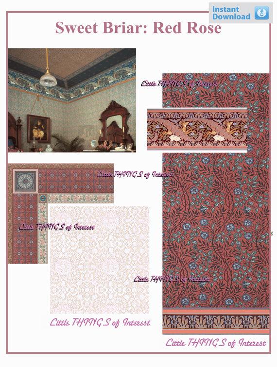 Scale Dollhouse WALLPAPER SWEET BRAIR   Red Rose Miniature Wallpaper 570x756
