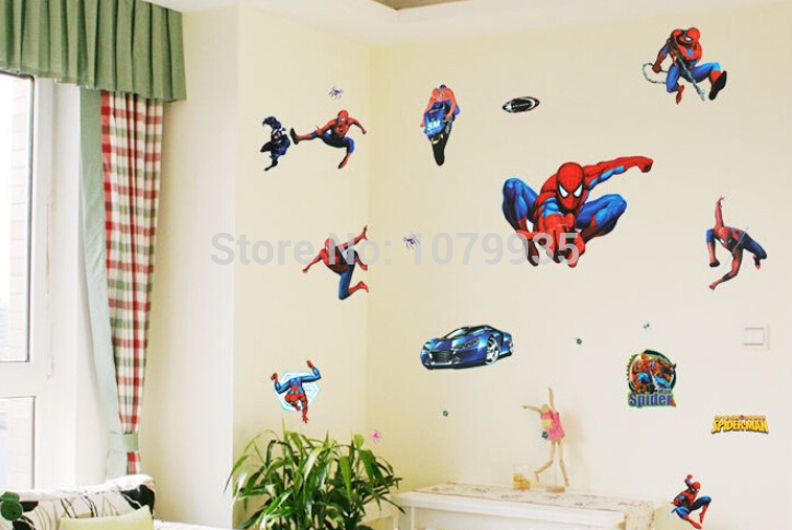 FREE SHIPPING Spiderman DIY 3D wallpaper wall stickers for kids rooms 724x485