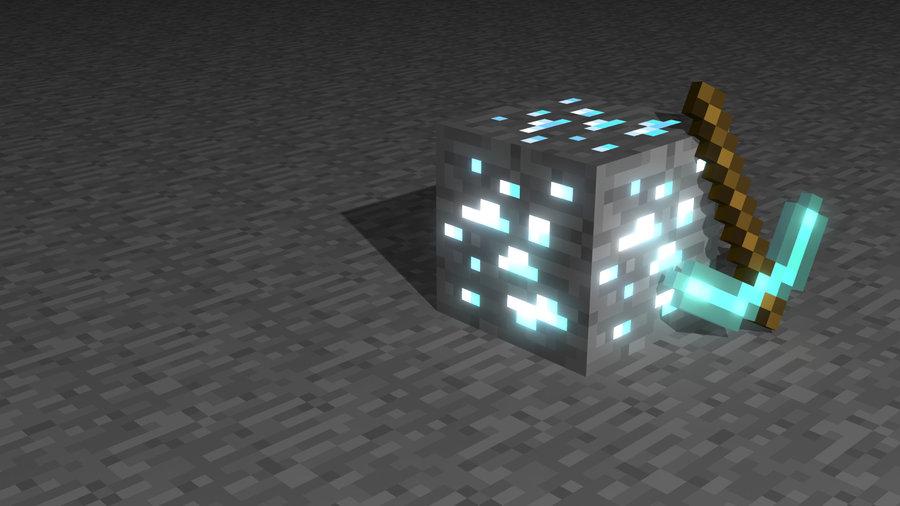 Free Download Minecraft Wallpaper 3d Glowing Diamonds