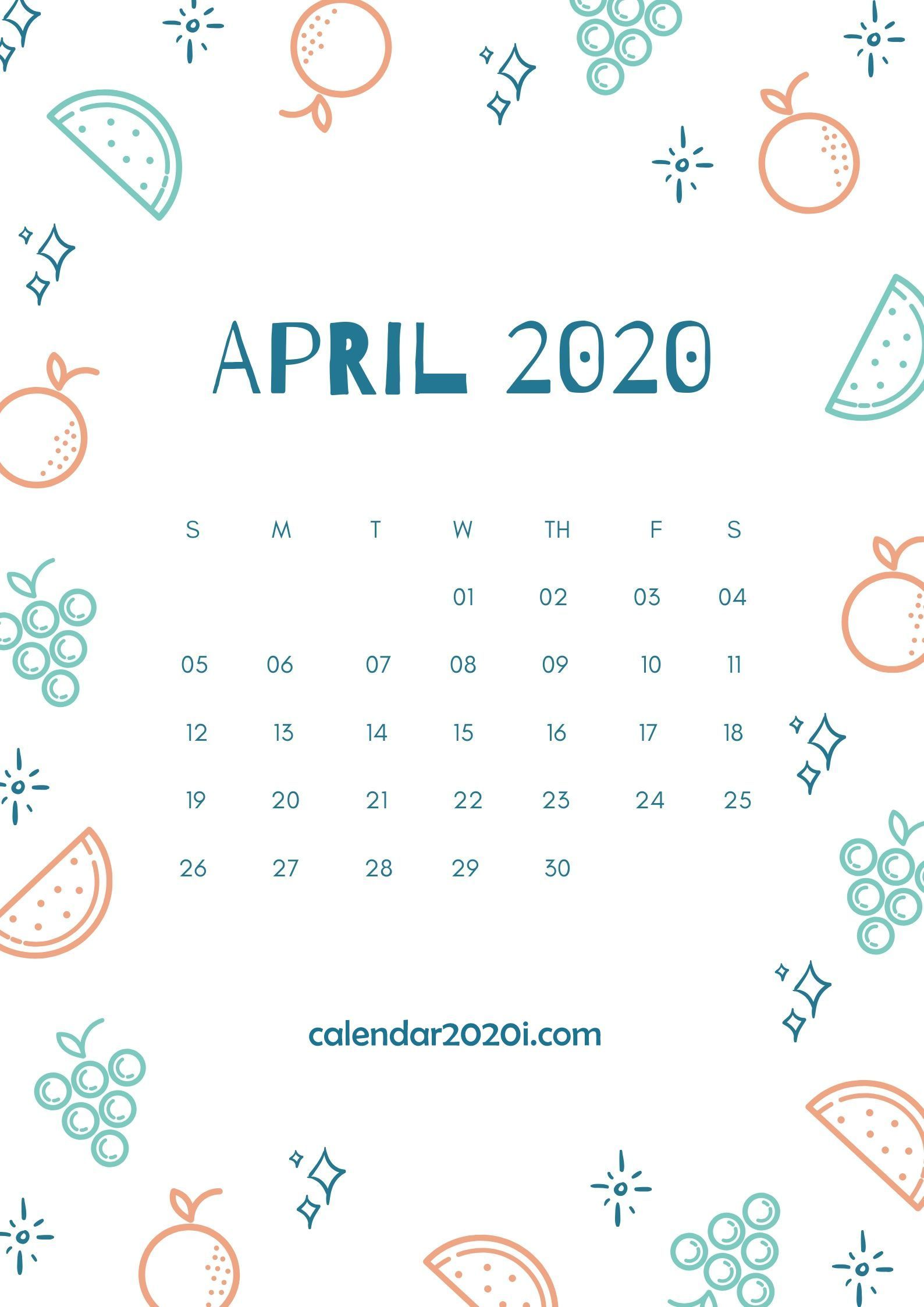 April 2020 Wall Calendar Printable Calendar wallpaper Calendar 1588x2246