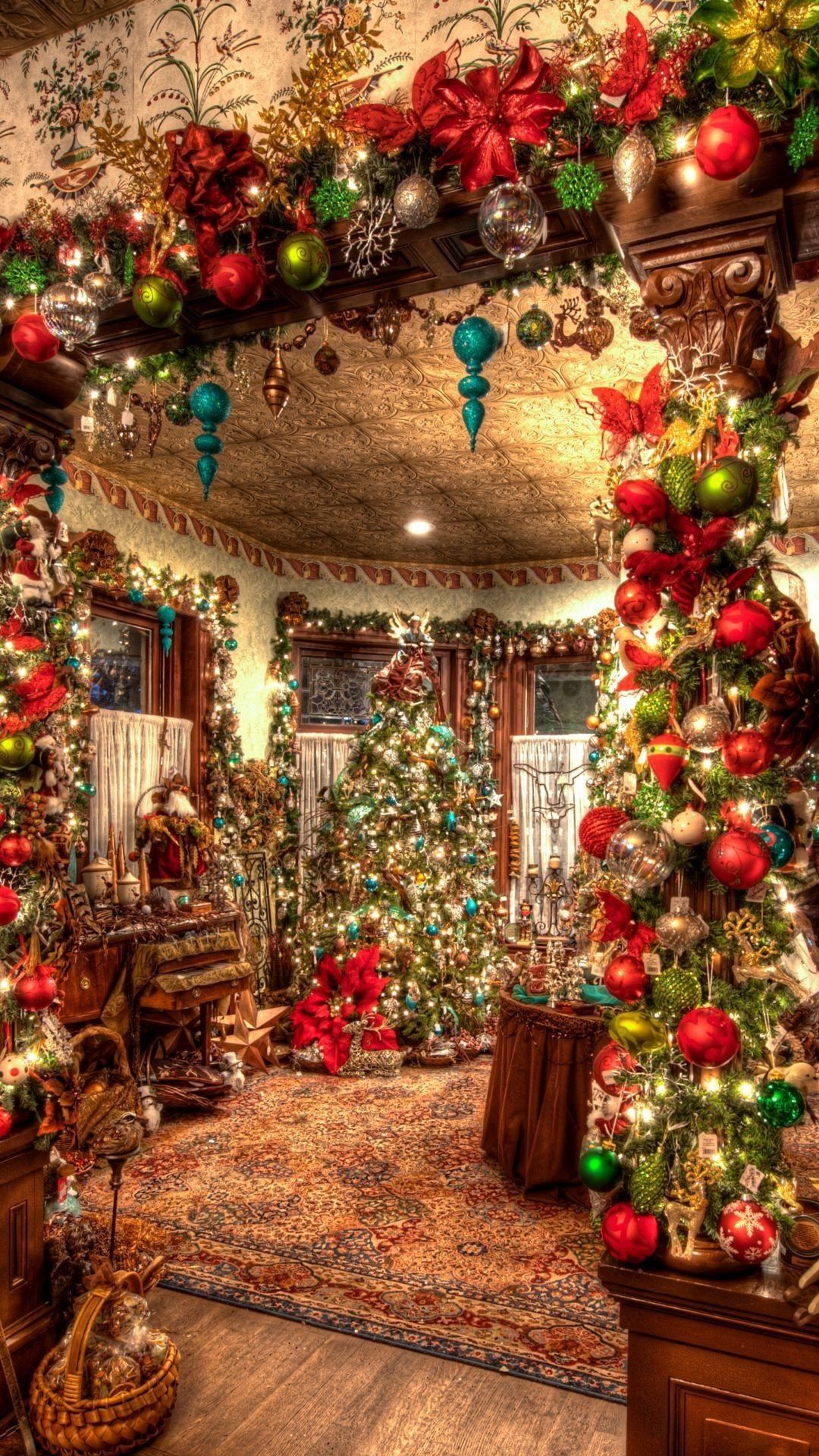 Christmas Decorations Big Room Tree Android Wallpaper download 1080x1920