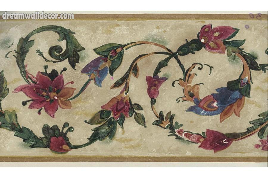 Floral Ring Flower Wallpaper Border 900x600