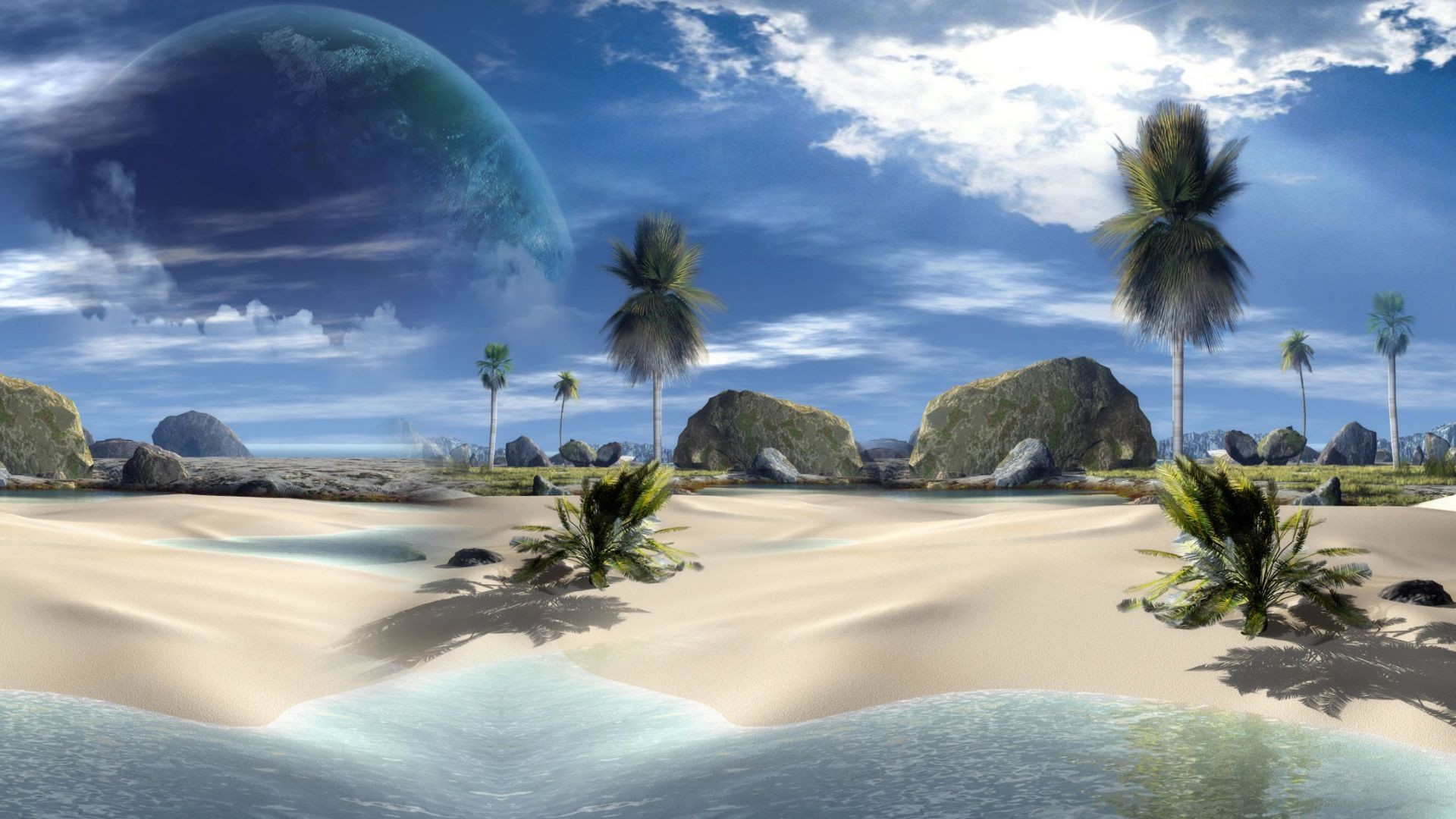 Pin 3d Beach Desktop Wallpaper 1920x1080 1920x1080