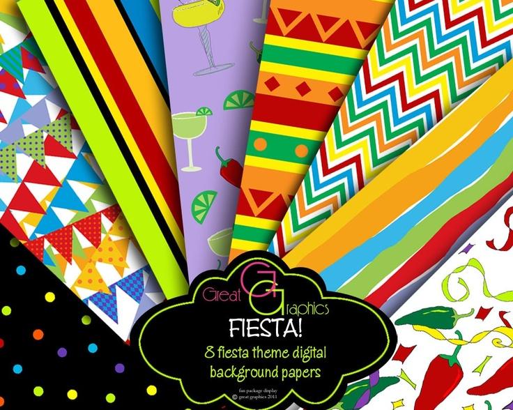 Fiesta Paper Fiesta Party Digital Paper Cinco De Mayo 736x588