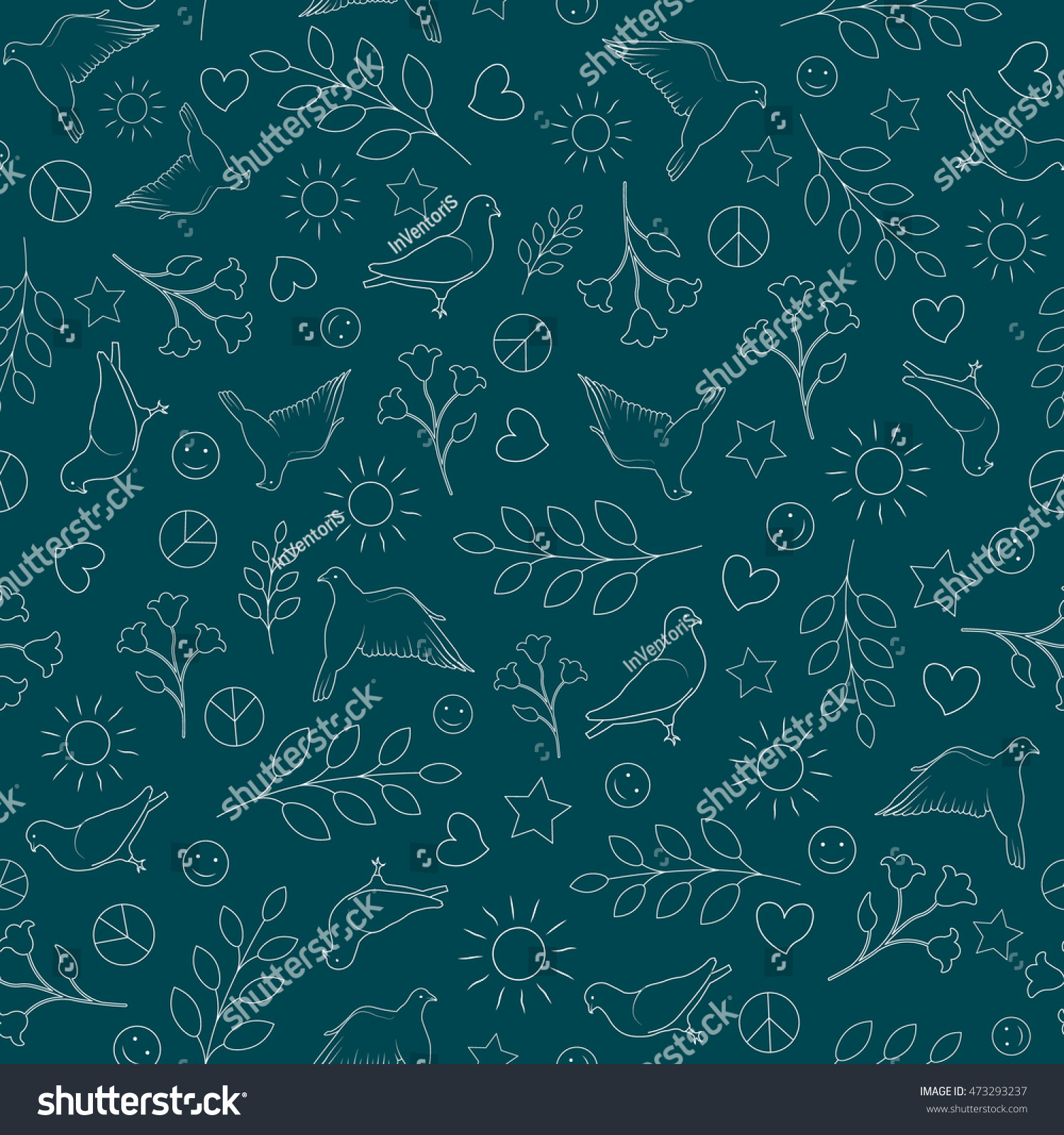 International Day Peace Seamless Pattern Background Stock Vector 1500x1600