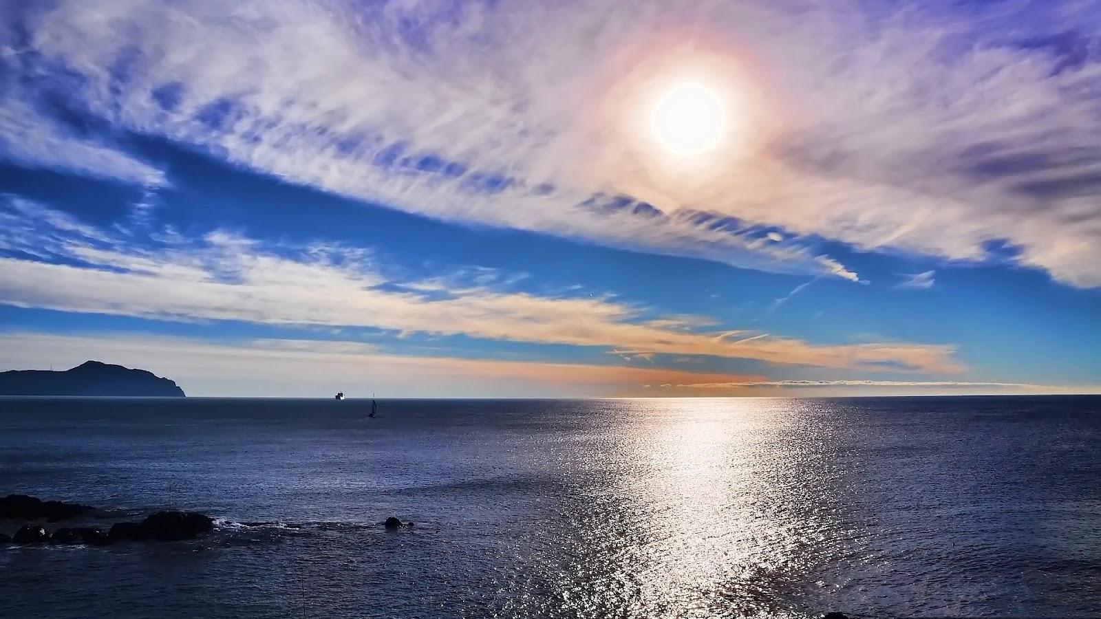 Seascape Sunset Full HD Nature Desktop Wallpaper for Laptop Widescreen 1600x900