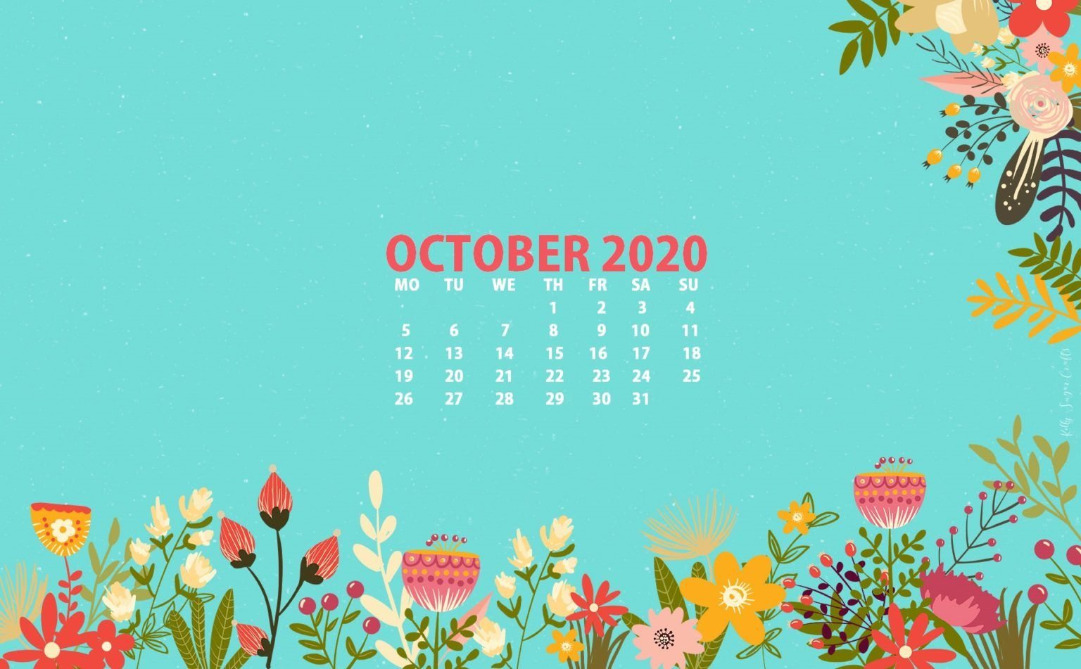 Floral October 2020 Wallpaper in 2020 Calendar wallpaper 1536x951