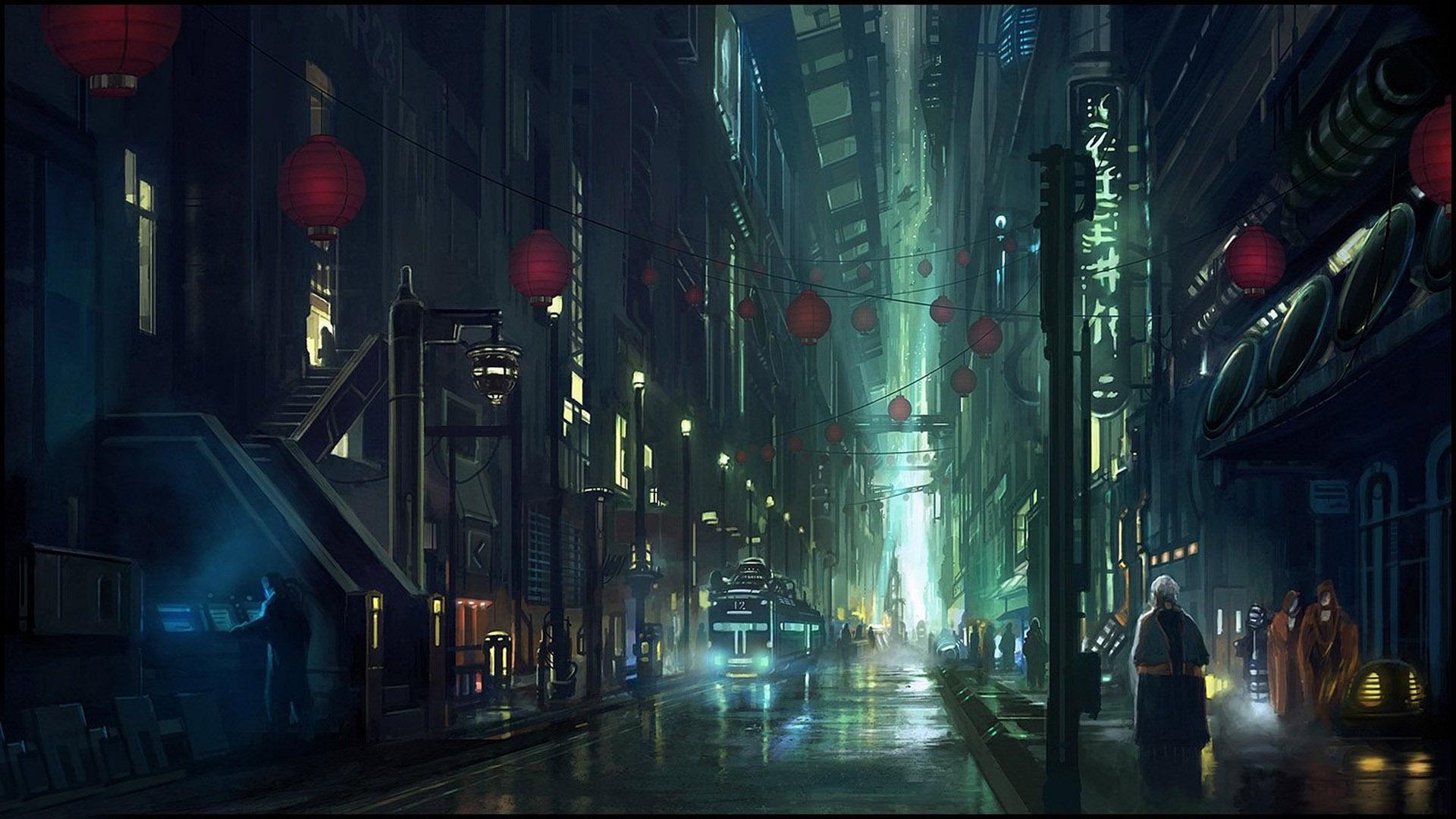 Cyberpunk city street wallpaper 14731 1920x1080