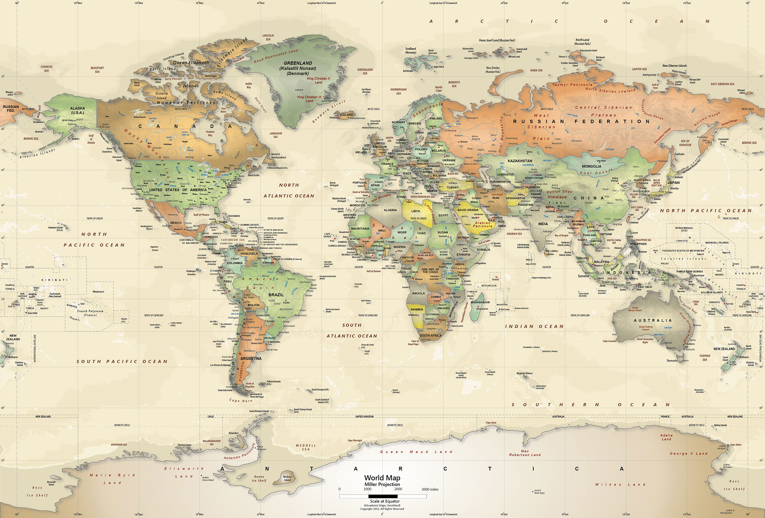 Antique Oceans World Political Map Wall Mural   Miller Projection 2500x1694