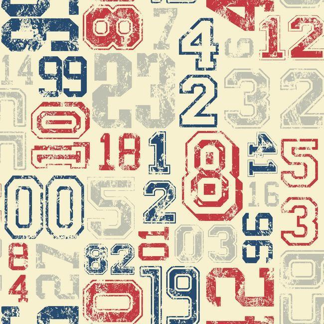 Vintage Varsity Number Wallpaper   RosenberryRoomscom 650x650