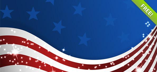 USA Flags PSD   American Patriotic Set   PSD Files 594x274