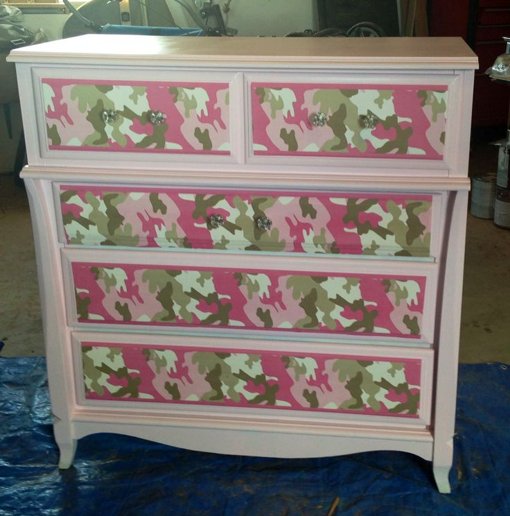 Pink camo dresser for our daughter Used pink camo wallpaper baby 736x744