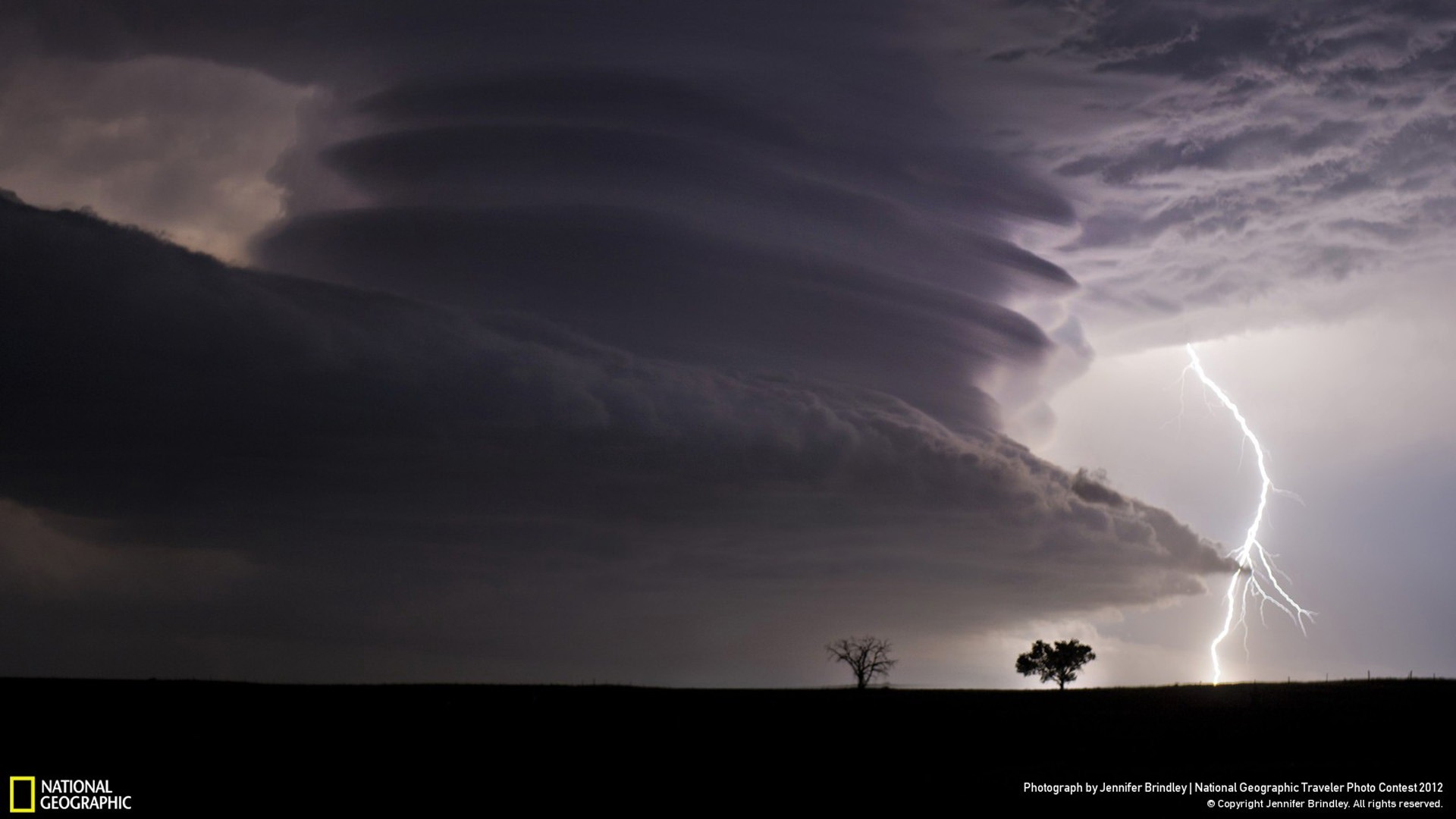 Stacked Supercell with Lightning National Geographic Wallpaper 1920x1080